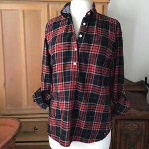 TOMMY HILFIGER PLAID FLANNEL POPOVER